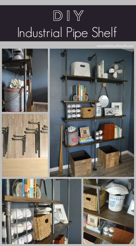 Step-by-step tutorial on how to make a customizable DIY industrial pipe bookshelf