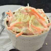 So creative!! Spaghetti squash serves as the perfect substitute for cabbage in this easy and creative coleslaw recipe!!