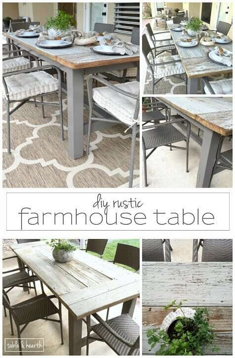 DIY Farmhouse Table - Gorgeous! This blogger used discarded old lumber to make a rustic statement dining table for their outdoor patio!