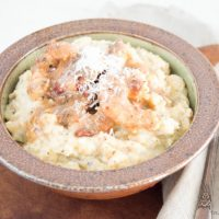 Herbed Ricotta Polenta with Shrimp - This easy dinner packs a ton of flavor with just a few simple ingredients and quick prep. www.tableandhearth.com