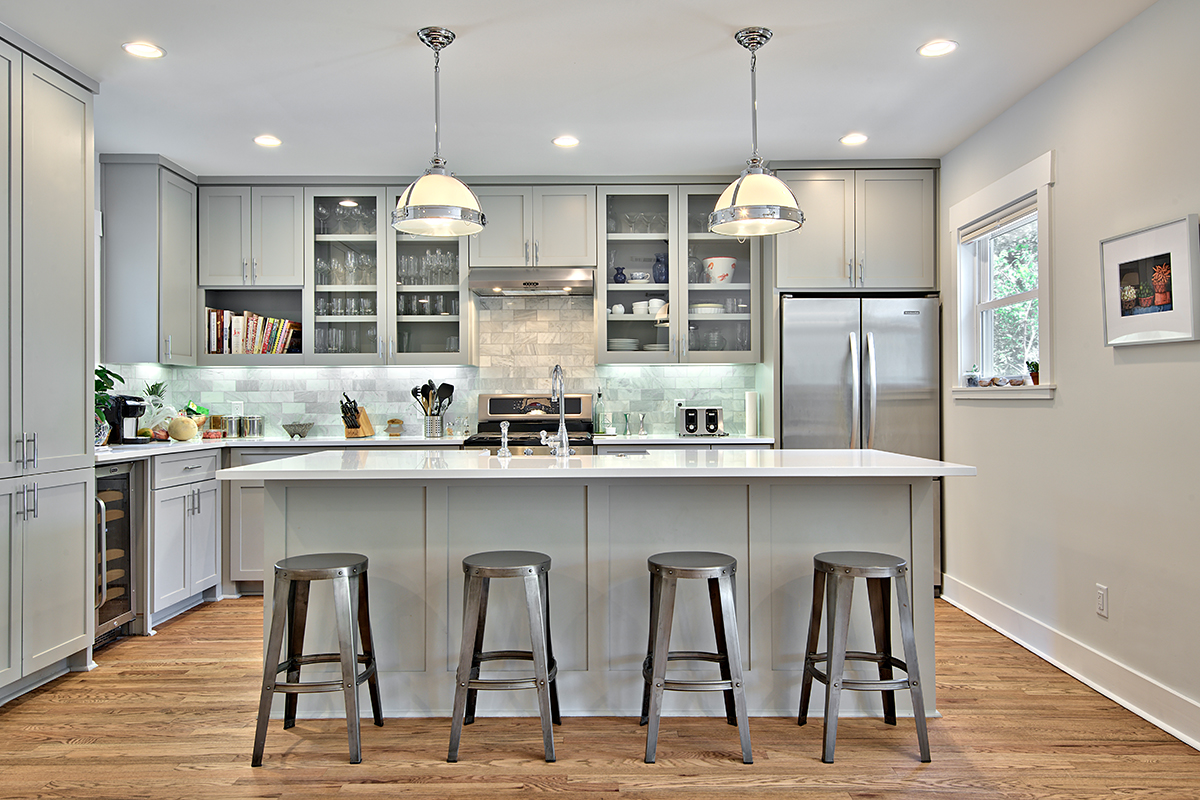 Light grey kitchen cabinets Bright kitchen
