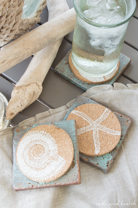Easy Copper Patina Tile Coasters - Make those simple cork coasters more sturdy and versatile with some basic tile coasters, made even prettier with some Modern Master's Copper Patina Kit. #modernmastersinc #metaleffects www.tableandhearth.com
