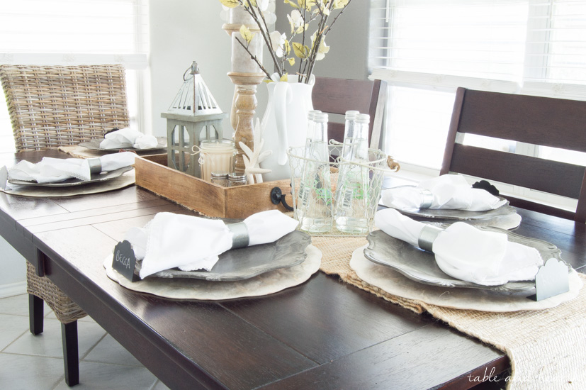 Dining room update a coastal farmhouse table setting - Dining table setting ideas ...
