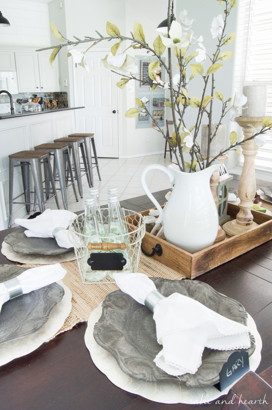 Coastal Farmhouse Table Setting   A Beautiful Dining Room Update With  Neutral Rustic Decor Found At