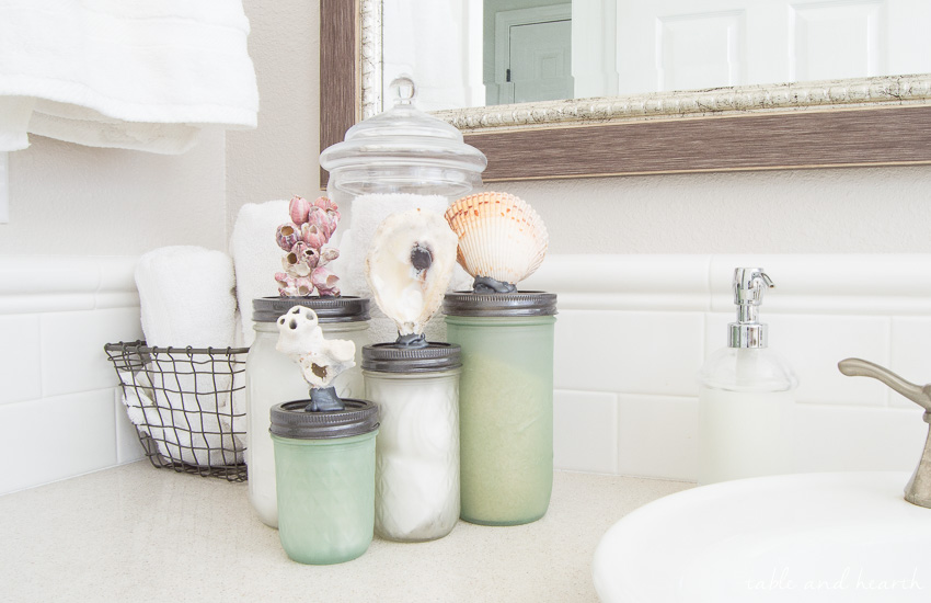 Make This Sea Glass Mason Jar Storage With Just Some Simple Spraypaint