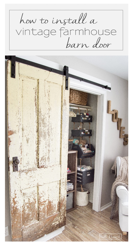 Finally a step-by-step walkthrough on how to install an antique farmhouse barn & How to Install a Vintage Farmhouse Barn Door | Table and Hearth