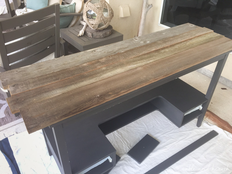 Transform a boring old desk with FAT artisan chalk paint and some reclaimed wood to make this rustic wood topped desk!