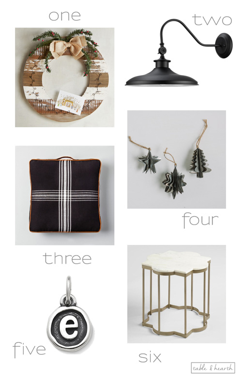 Six of my favorite finds lately, including fun ornaments, a comfy floor cushion, and budget-friendly vintage barn light!