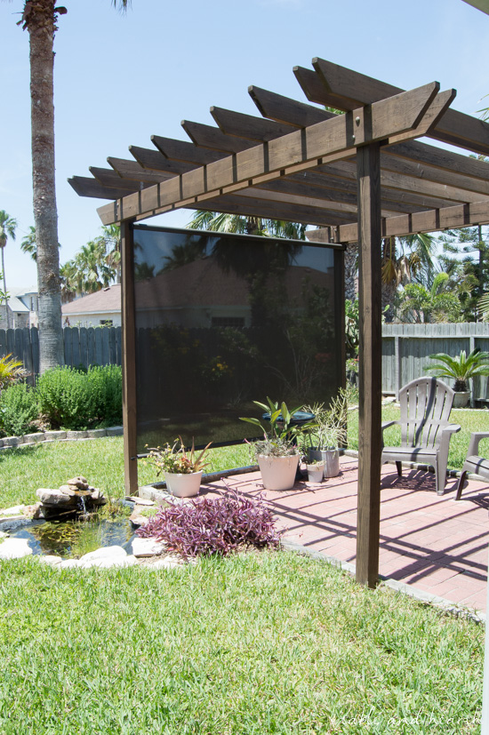 Make your patio nice and cool this summer with a rolling exterior shade! #sunshade #exteriorshade #rollingshade