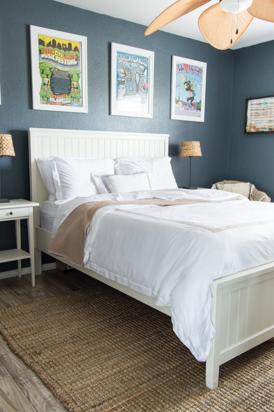 The most luxurious organic cotton coastal bedding from Boll & Branch transformed this space to a beach escape!