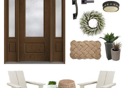 See this mid-90s home get a gorgeous coastal entryway makeover! www.tableandhearth.com #entryway #frontdoor #thermatru